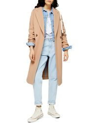 TOPSHOP Double Breasted Coat - Natural