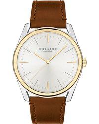 COACH Preston Leather Strap Watch - Metallic