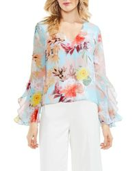 Vince Camuto | Faded Bloom Ruffle Sleeve Blouse | Lyst