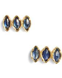 Brooke Gregson - Triple Sapphire Marquise Stud Earrings - Lyst