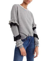 J.Crew | J.crew Ruffle Sleeve Sweatshirt | Lyst