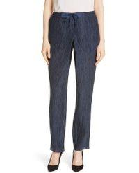 Emporio Armani - Crinkled Cotton & Silk Pants - Lyst