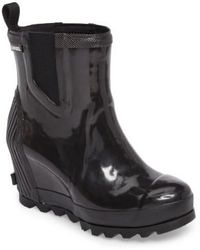 Sorel - Joan Glossy Wedge Rain Boot - Lyst