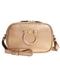 Ferragamo - Gancio Metallic Leather Camera Bag - Metallic - Lyst