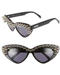 Moschino - 59mm Studded Cat Eye Polarized Sunglasses - Lyst