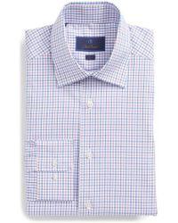 David Donahue - Trim Fit Check Dress Shirt - Lyst