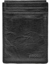 Fossil Neel Magnetic Leather Money Clip Card Case - Black