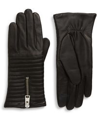 AllSaints - Estella Quilted Leather Touchscreen Gloves - Lyst