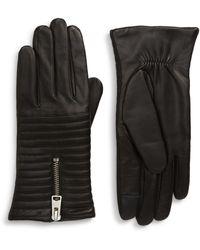 AllSaints Estela Leather Quilted Gloves - Black