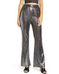Endless Rose Textured Flared Pants - Metallic