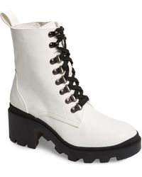 BP. Taylor Block Heel Combat Boot - White