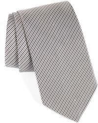 David Donahue Stripe Silk Tie - Black