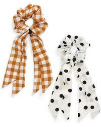 Tasha - 2-pack Plaid/polka Dot Tail Scrunchie Set, White - Lyst