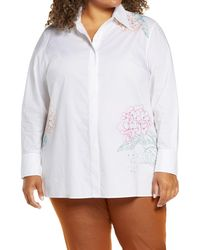 Lafayette 148 New York Greyson Floral Embroidered Cotton Poplin Shirt - White