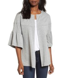 Pleione Bell Sleeve French Terry Jacket - Gray