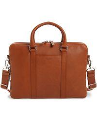 Shinola Signature Leather Briefcase - Metallic - Brown