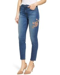Jen7 - Embroidered Ankle Skinny Jeans - Lyst
