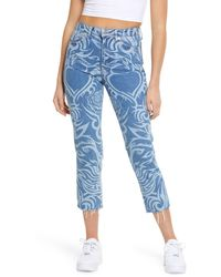 TOPSHOP Laser Print Raw Hem High Waist Crop Straight Leg Jeans - Blue