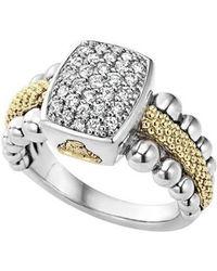 Lagos - Diamond Caviar Square Ring - Lyst