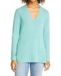 Eileen Fisher - V-neck Silk Tunic Top - Lyst