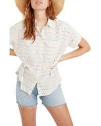 Madewell Flecked Rainbow Stripe Courier Shirt - White