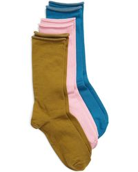 Nordstrom Everyday Roll Top 3-pack Crew Socks, Pink - Multicolor