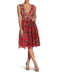 Dress the Population - Rita Plunge Neck Lace Fit & Flare Dress - Lyst
