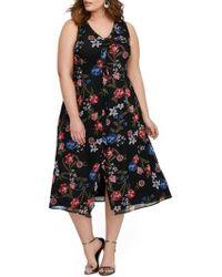 Michel Studio Floral Print A-line Dress (plus Size) - Black
