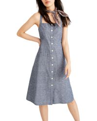 556e039bbda Madewell - Button Front Chambray Tank Dress - Lyst