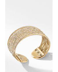 David Yurman - Stax 18k Gold & Pavé Diamond Cuff Bracelet - Lyst