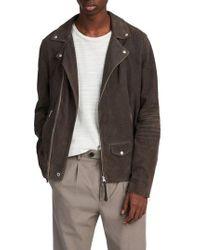 AllSaints - Kano Suede Moto Jacket - Lyst