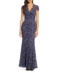 Eliza J Floral Lace Gown - Blue