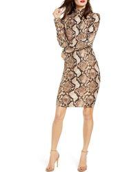 Leith Long Sleeve Body-con Dress - Brown