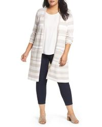 Foxcroft - Rhona Textured Stripe Longline Cardigan - Lyst