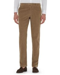 Zanella - Curtis Flat Front Stretch Corduroy Cotton Trousers - Lyst