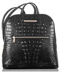 Brahmin - Felicity Croc Embossed Leather Backpack - Burgundy - Lyst