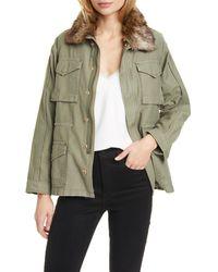 FRAME Faux Fur Collar Service Jacket - Green