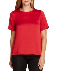 Vince Camuto Rumple Hammer Satin Top - Red