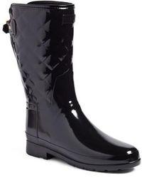 HUNTER - Refined High Gloss Quilted Short Rain Boot - Lyst