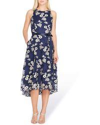 Tahari Floral Embroidered Dress - Blue