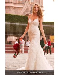 Watters - Thais Beaded Silk Lace Trumpet Gown - Lyst