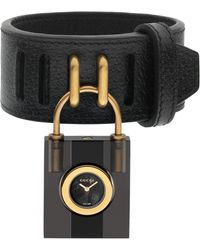 346d2d991d7 Gucci - Twirl Small Leather Strap Padlock Watch - Lyst