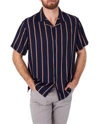 7 Diamonds Get Rhythm Slim Fit Stripe Camp Shirt - Blue