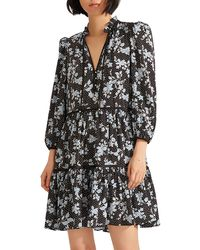 Veronica Beard Hawken Floral Tiered Stretch Silk Dress - Black