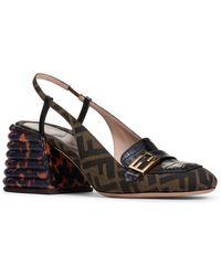 Fendi Promenade Slingback Block Heel Sandal - Brown