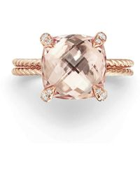 David Yurman Chatelaine Morganite & Diamond Ring In 18k Rose Gold - Metallic