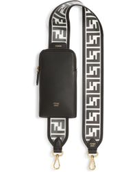 Fendi Logo Strap Leather Phone Case - Black
