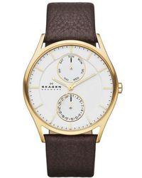Skagen - 'holst' Multifunction Leather Strap Watch - Lyst