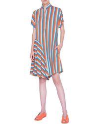 Akris Punto Gazebo Stripe Asymmetrical Shirtdress - Blue