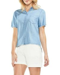 Vince Camuto - Frayed Chambray Shirt - Lyst